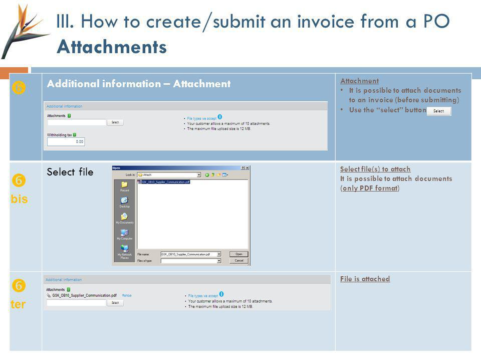 III. How to create/submit an invoice from a PO Attachments