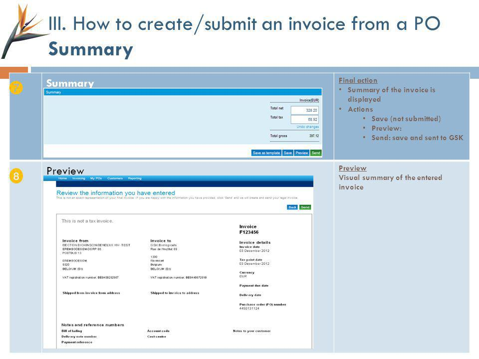III. How to create/submit an invoice from a PO Summary