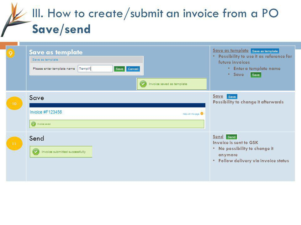 III. How to create/submit an invoice from a PO Save/send