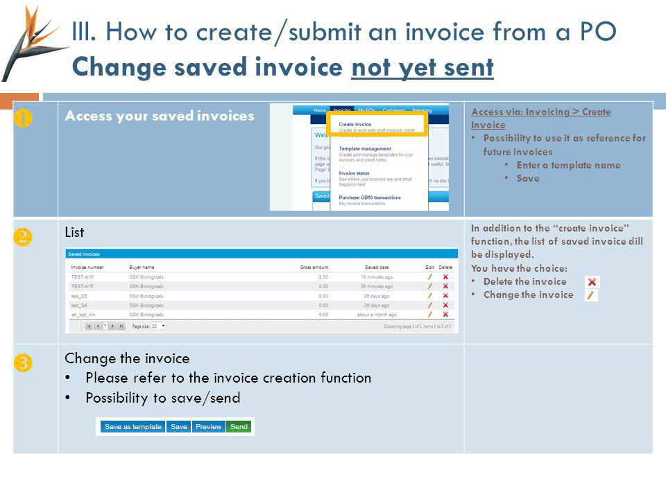 III. How to create/submit an invoice from a PO Change saved invoice not yet sent