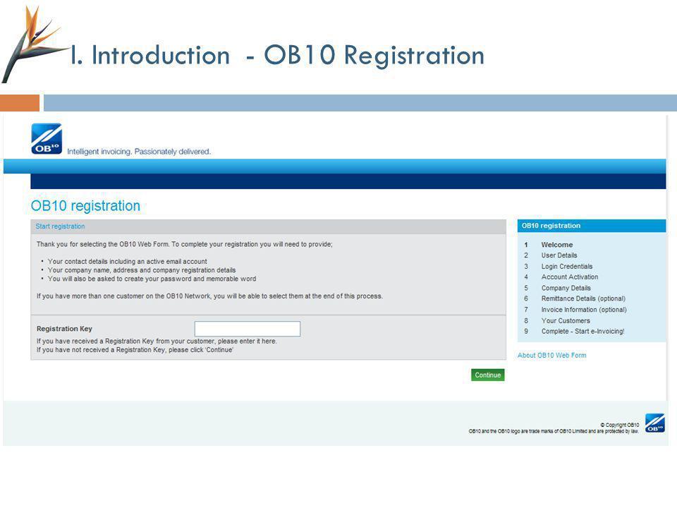 I. Introduction - OB10 Registration