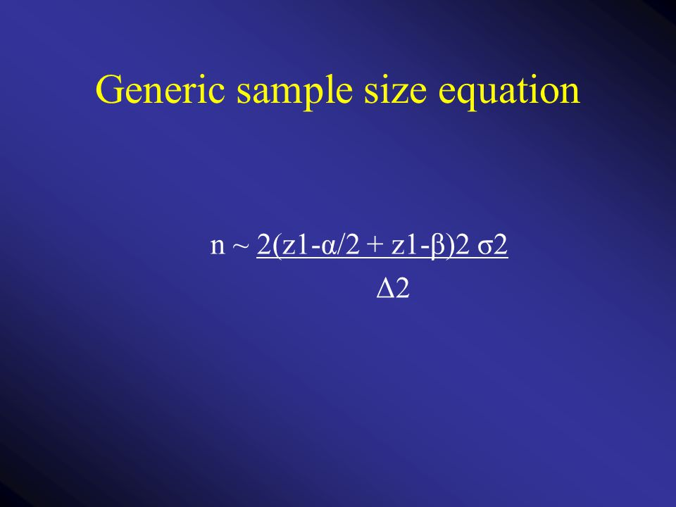 Generic sample size equation