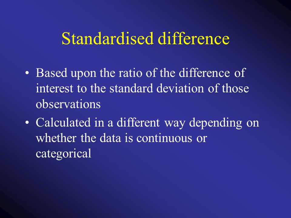 Standardised difference