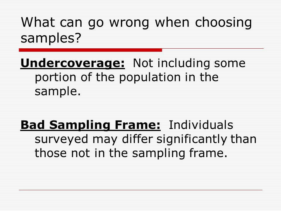 What can go wrong when choosing samples