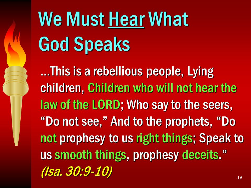 We Must Hear What God Speaks