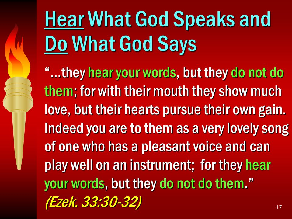 Hear What God Speaks and Do What God Says