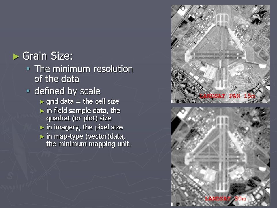 Grain Size: The minimum resolution of the data defined by scale