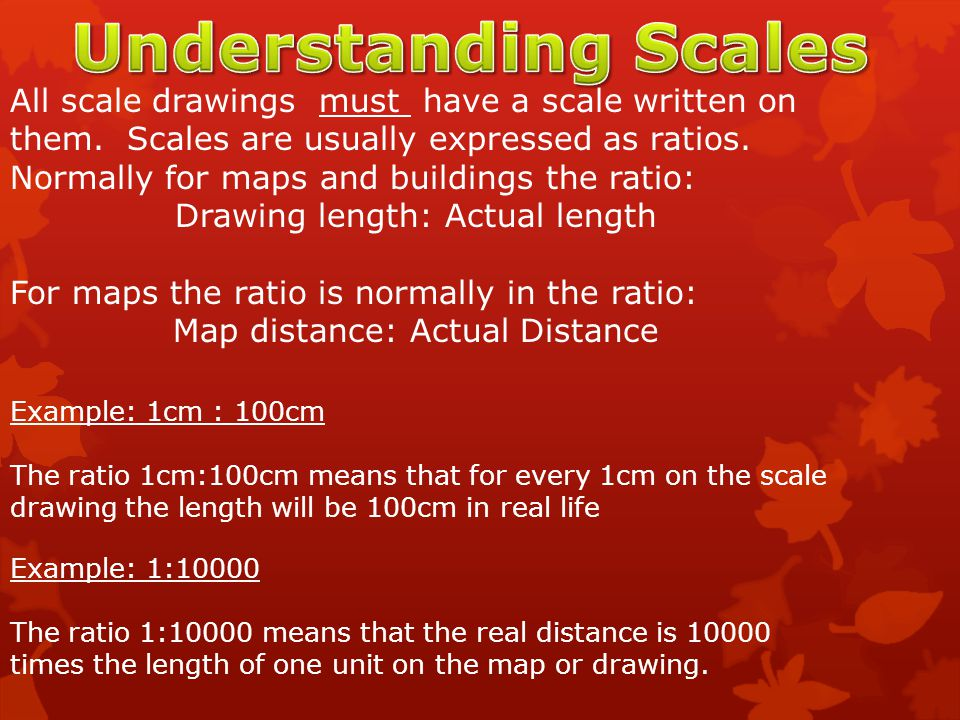 Understanding Scales All scale drawings must have a scale written on them. Scales are usually expressed as ratios.