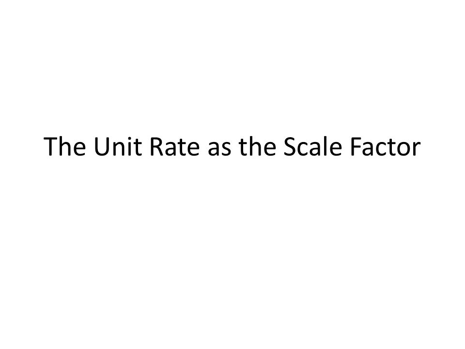 The Unit Rate as the Scale Factor