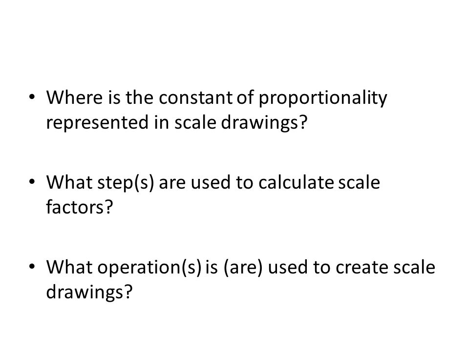 Where is the constant of proportionality represented in scale drawings