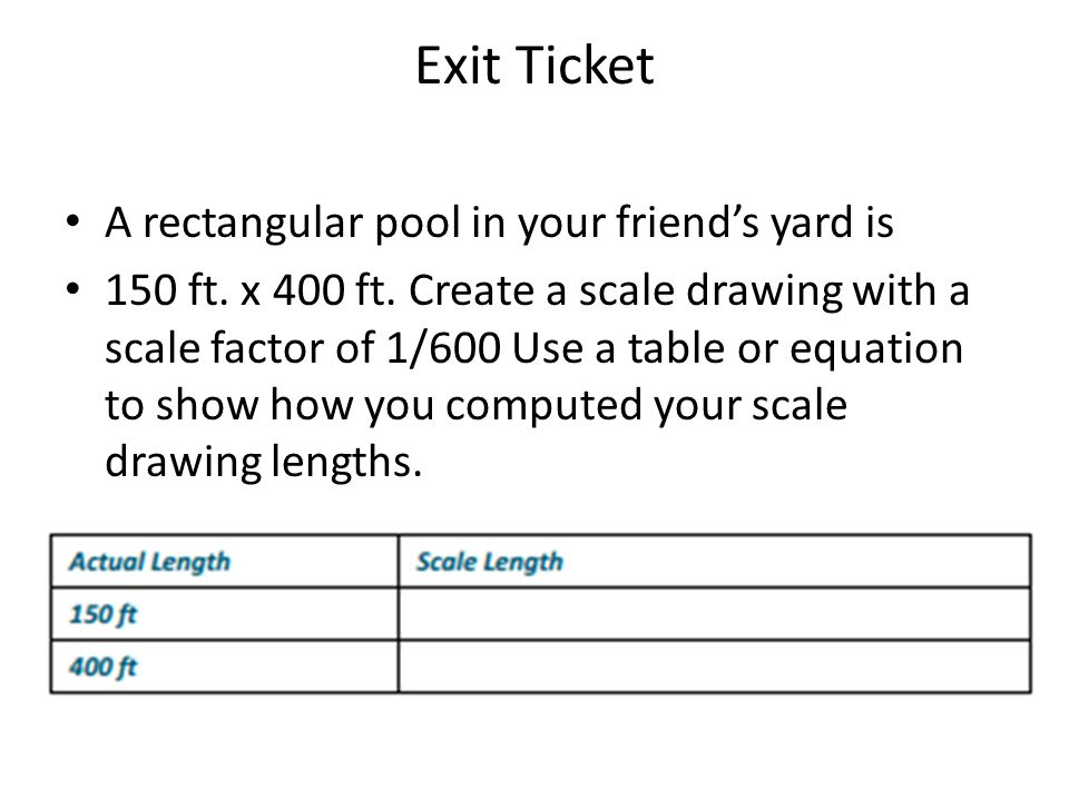 Exit Ticket A rectangular pool in your friend's yard is