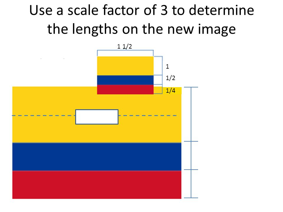 Use a scale factor of 3 to determine the lengths on the new image