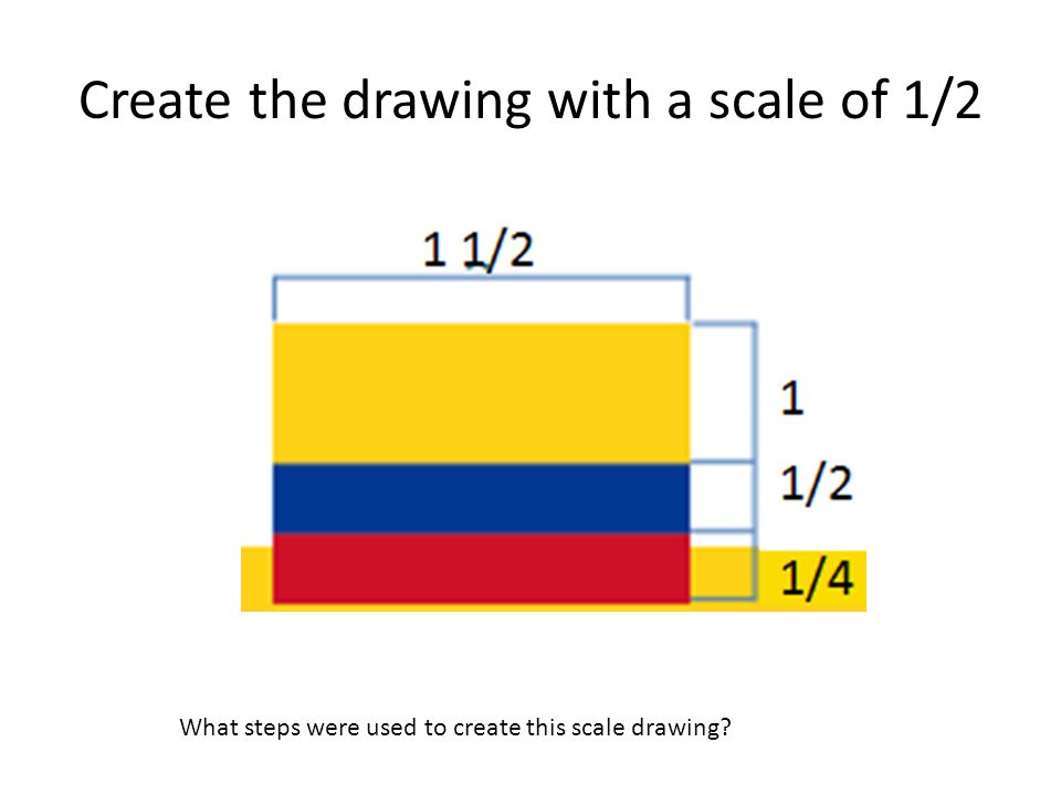 Create the drawing with a scale of 1/2