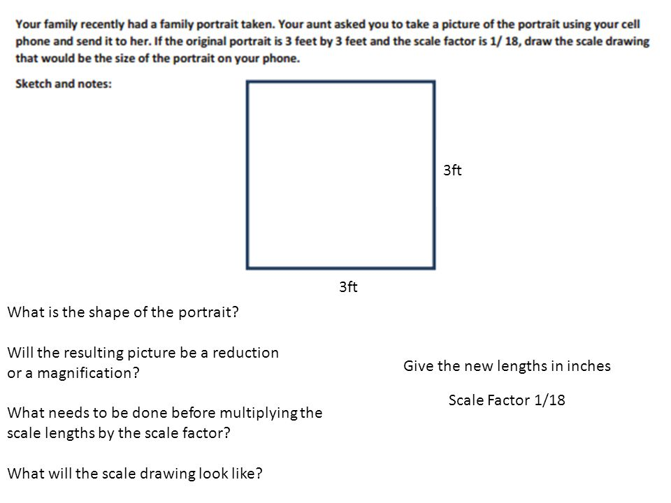 3ft 3ft. What is the shape of the portrait Will the resulting picture be a reduction. or a magnification