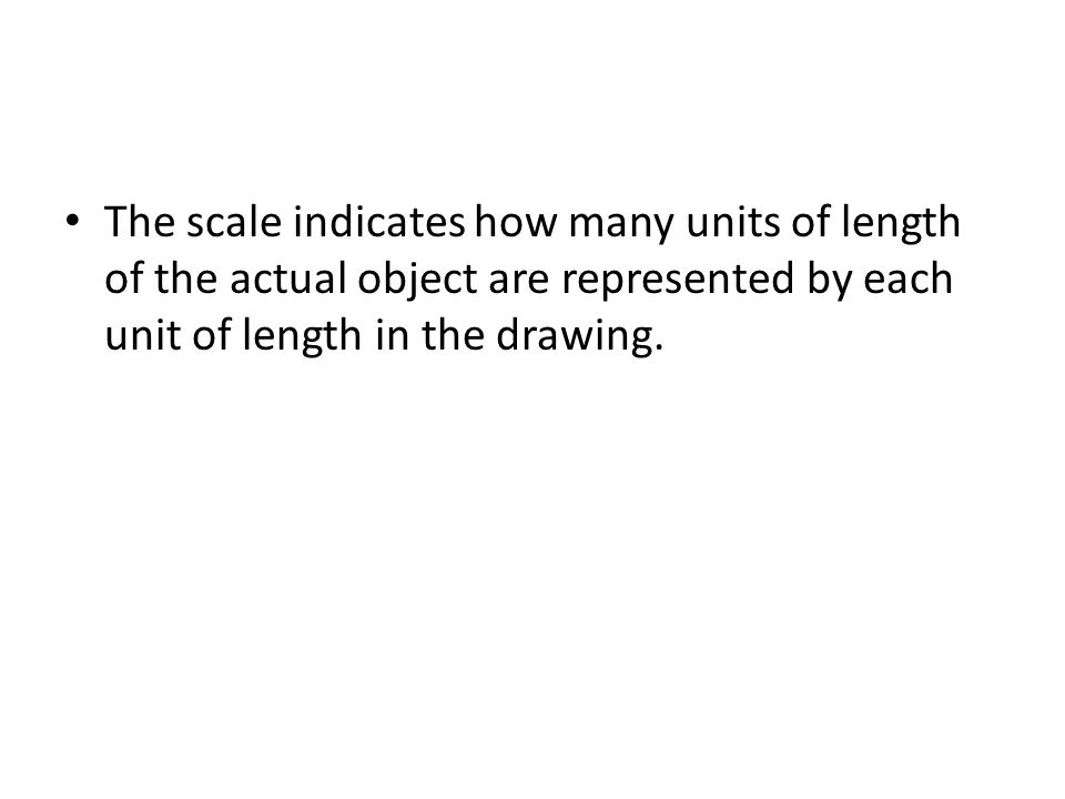 The scale indicates how many units of length of the actual object are represented by each unit of length in the drawing.