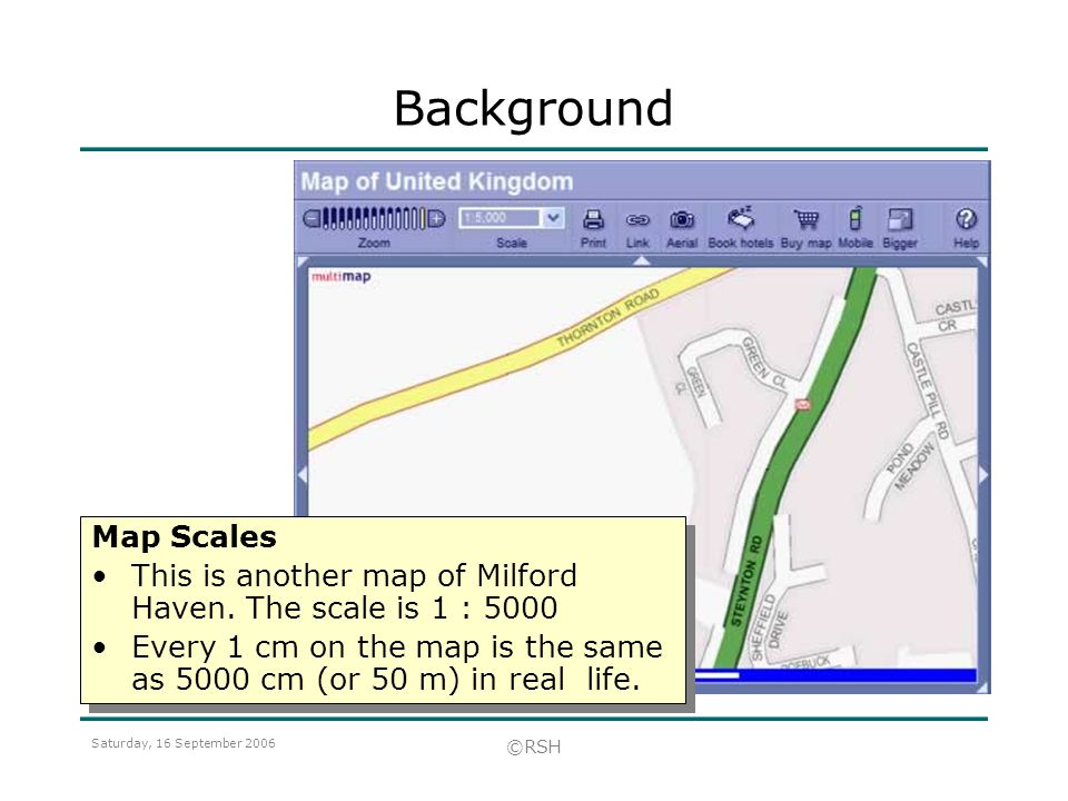 Background Map Scales. This is another map of Milford Haven. The scale is 1 :