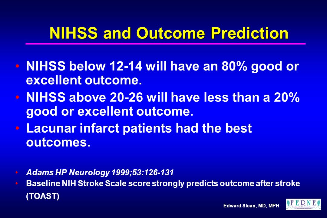 NIHSS and Outcome Prediction