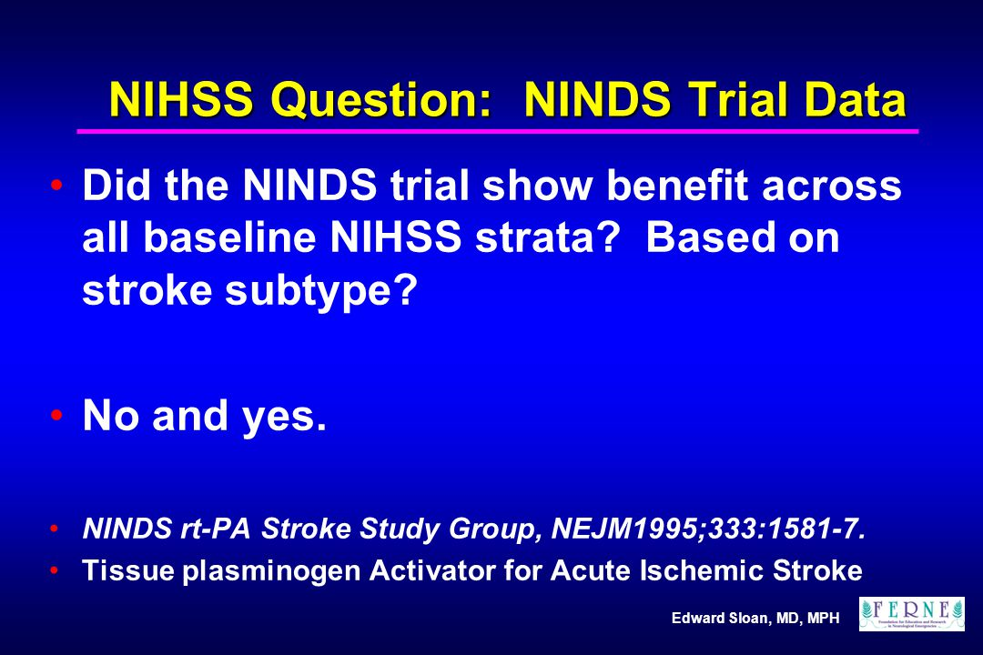 NIHSS Question: NINDS Trial Data
