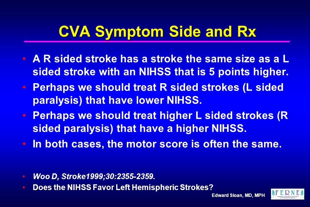 CVA Symptom Side and Rx A R sided stroke has a stroke the same size as a L sided stroke with an NIHSS that is 5 points higher.