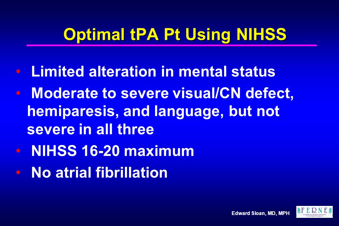 Optimal tPA Pt Using NIHSS