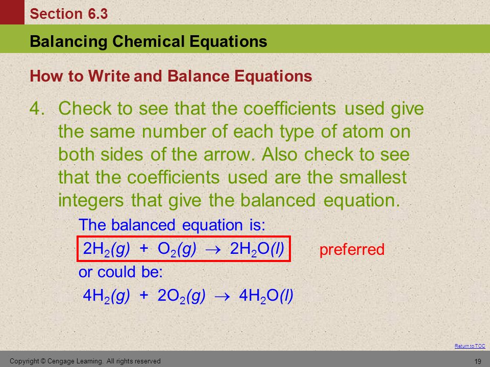 How to Write and Balance Equations