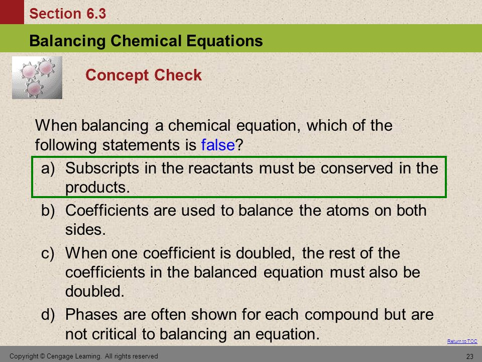a) Subscripts in the reactants must be conserved in the products.