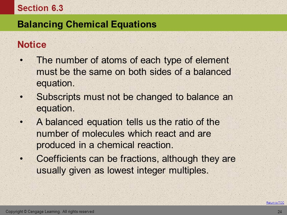 Subscripts must not be changed to balance an equation.