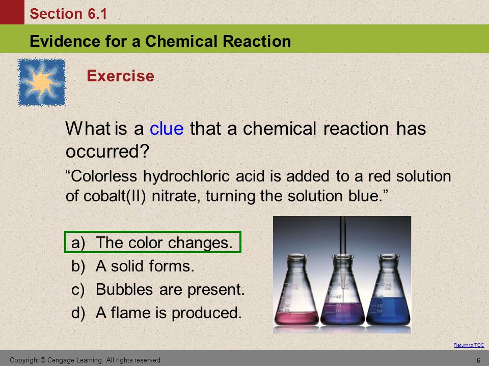 What is a clue that a chemical reaction has occurred
