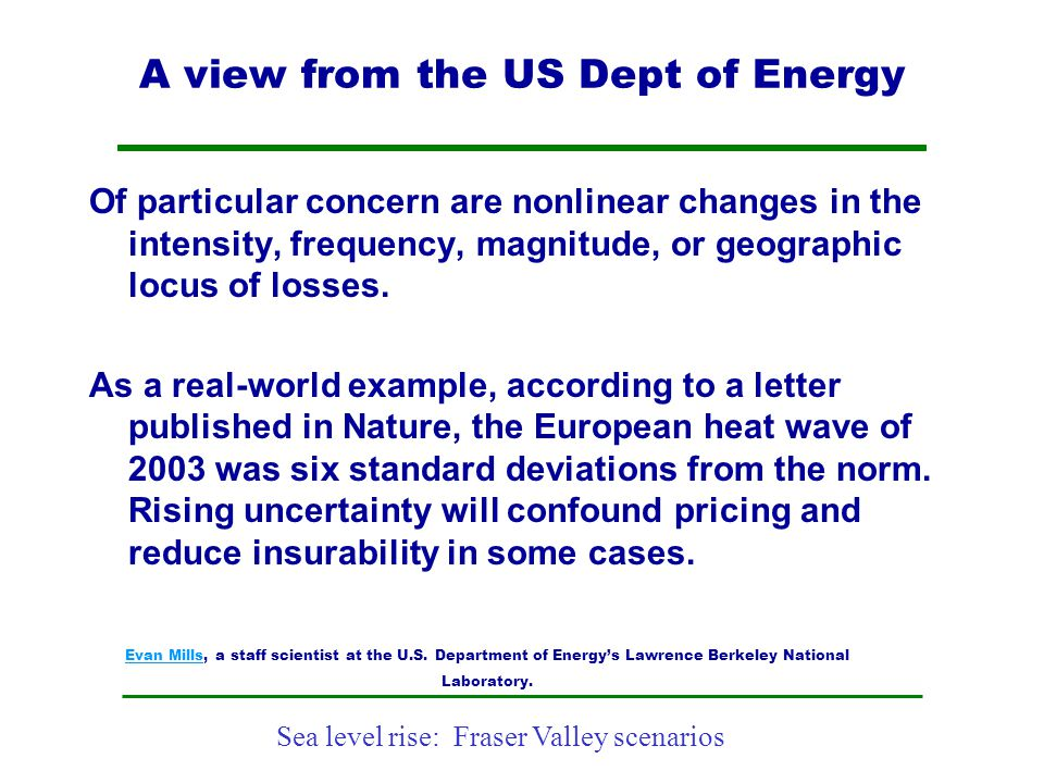 A view from the US Dept of Energy