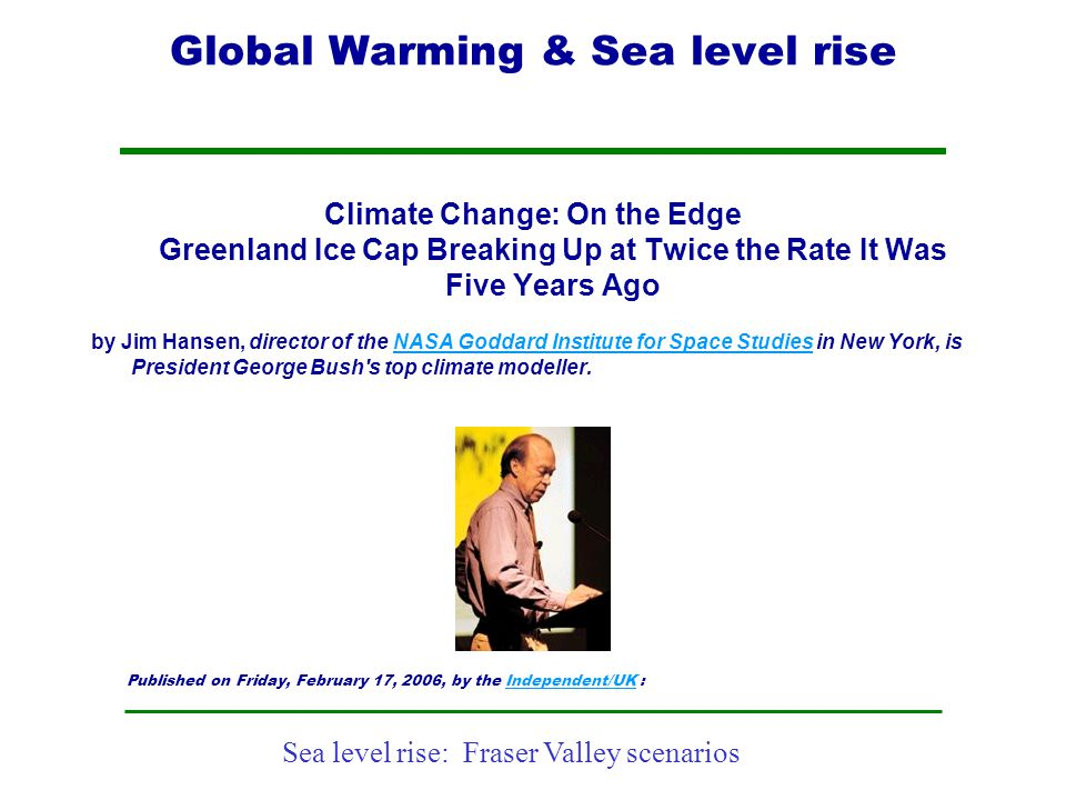 Global Warming & Sea level rise