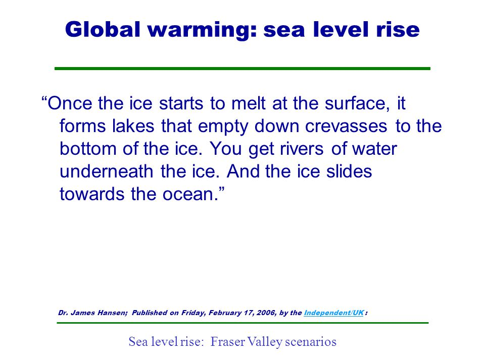 Global warming: sea level rise