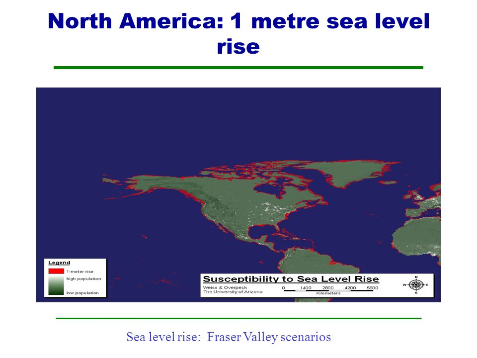 North America: 1 metre sea level rise