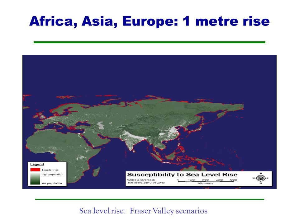 Africa, Asia, Europe: 1 metre rise
