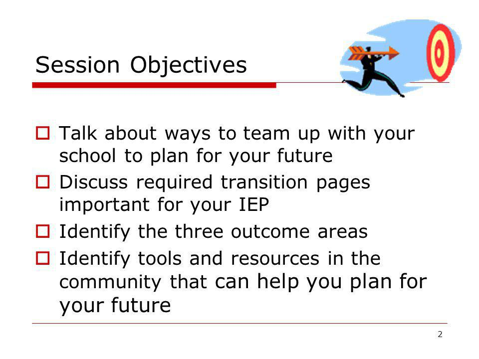 Session Objectives Talk about ways to team up with your school to plan for your future. Discuss required transition pages important for your IEP.