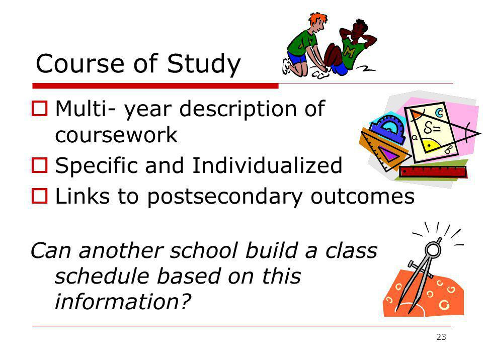 Course of Study Multi- year description of coursework
