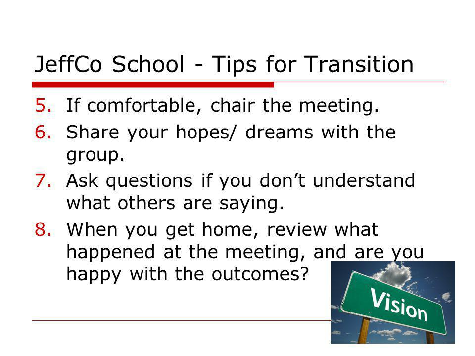 JeffCo School - Tips for Transition