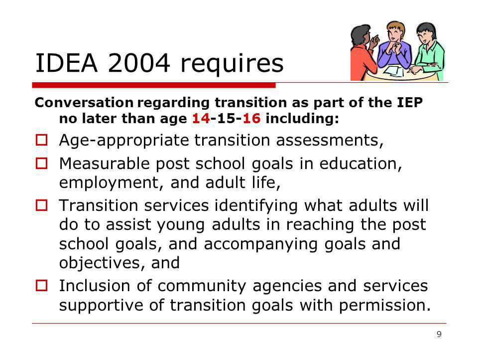 IDEA 2004 requires Age-appropriate transition assessments,