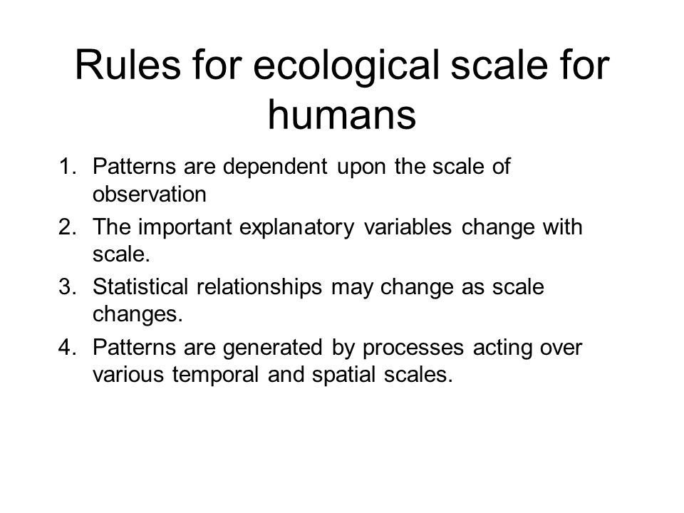 Rules for ecological scale for humans