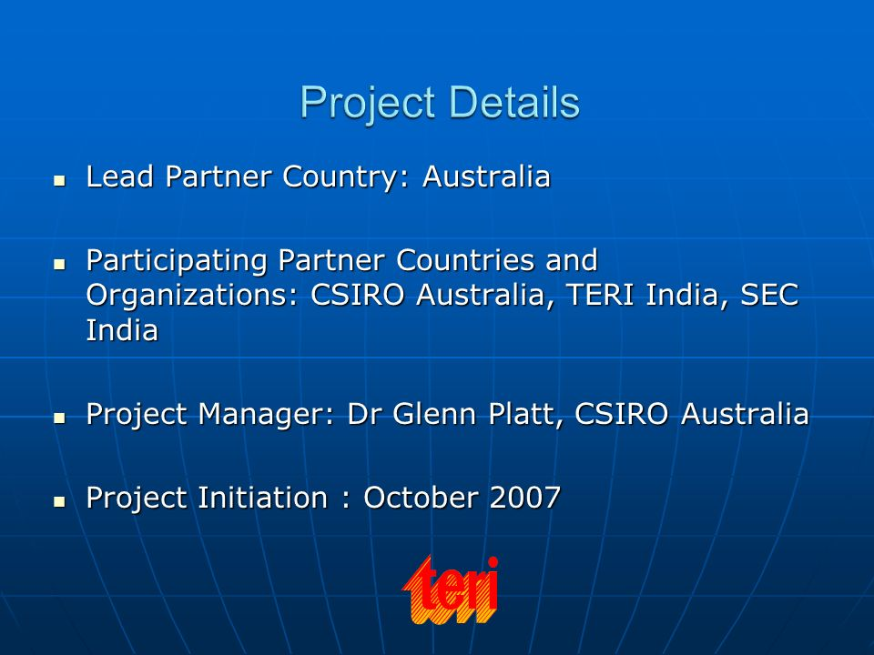 Project Details Lead Partner Country: Australia