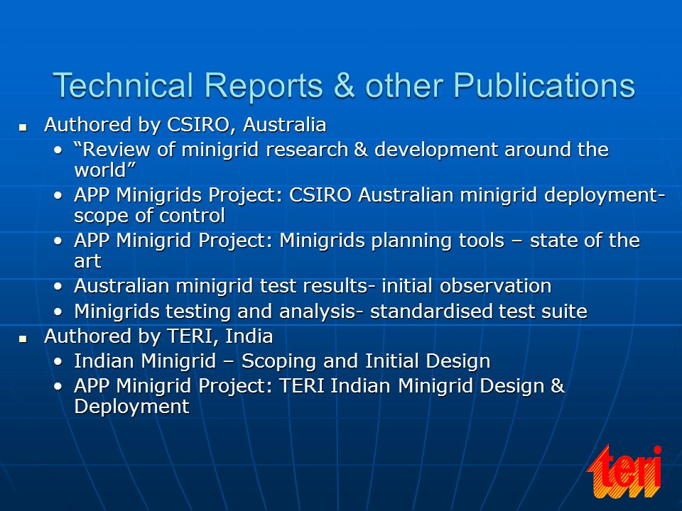 Technical Reports & other Publications
