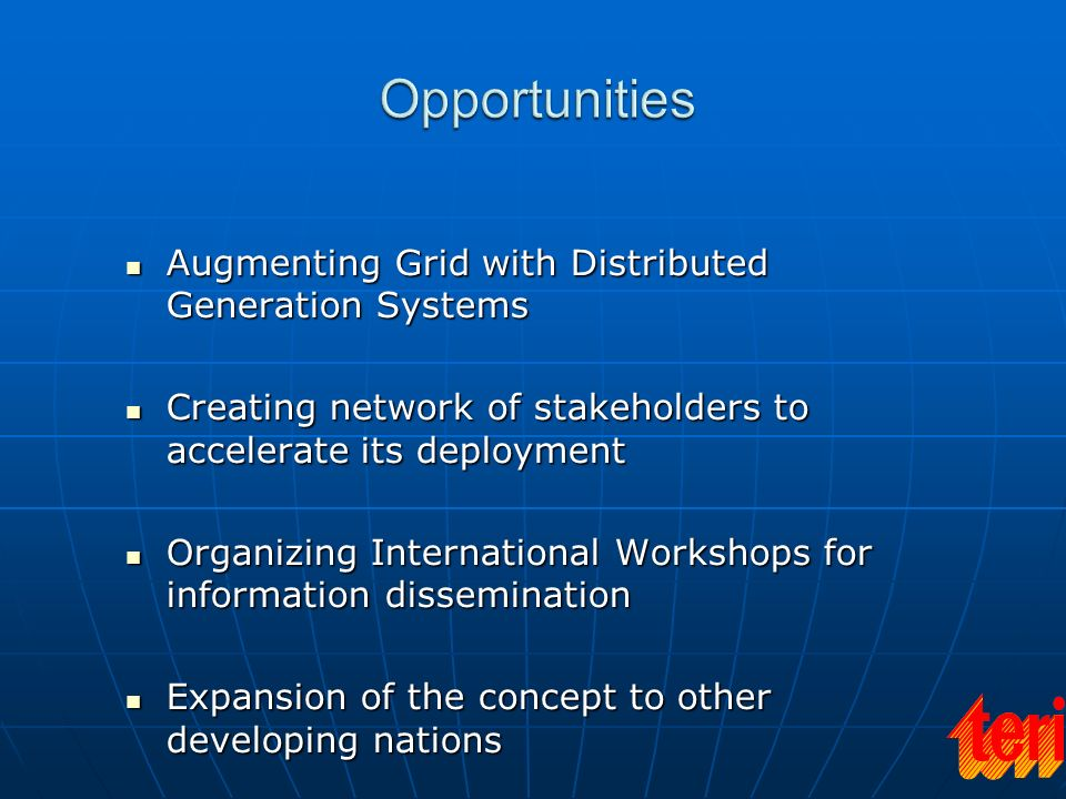 Opportunities Augmenting Grid with Distributed Generation Systems