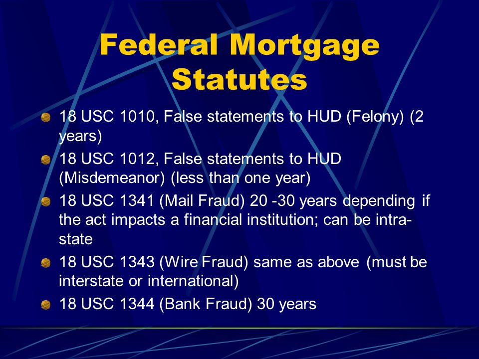 Federal Mortgage Statutes