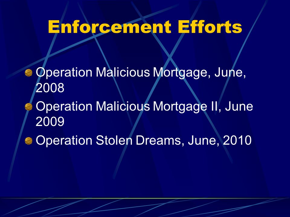 Enforcement Efforts Operation Malicious Mortgage, June, 2008
