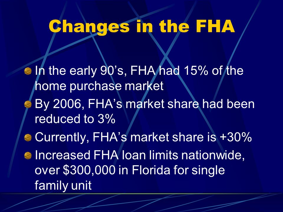 Changes in the FHA In the early 90's, FHA had 15% of the home purchase market. By 2006, FHA's market share had been reduced to 3%