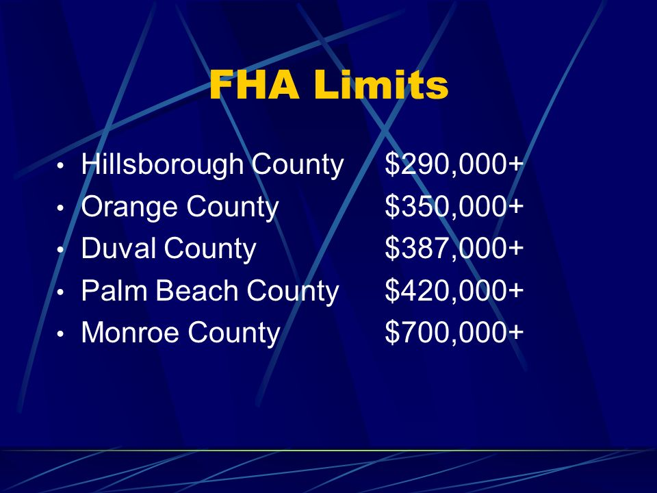 FHA Limits Hillsborough County $290,000+ Orange County $350,000+