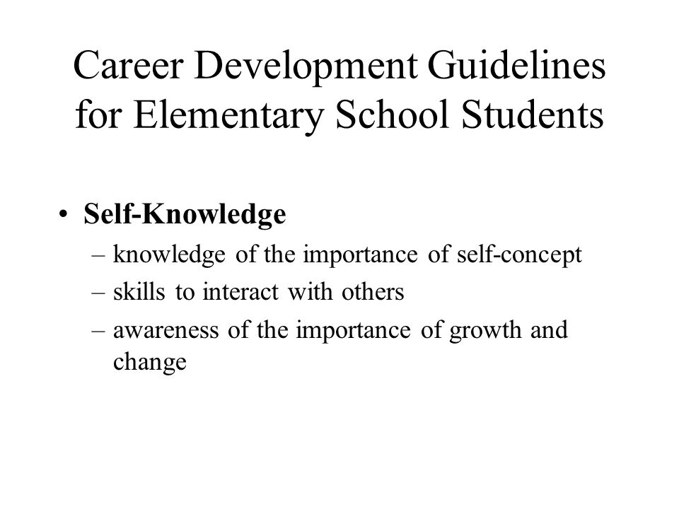 Career Development Guidelines for Elementary School Students