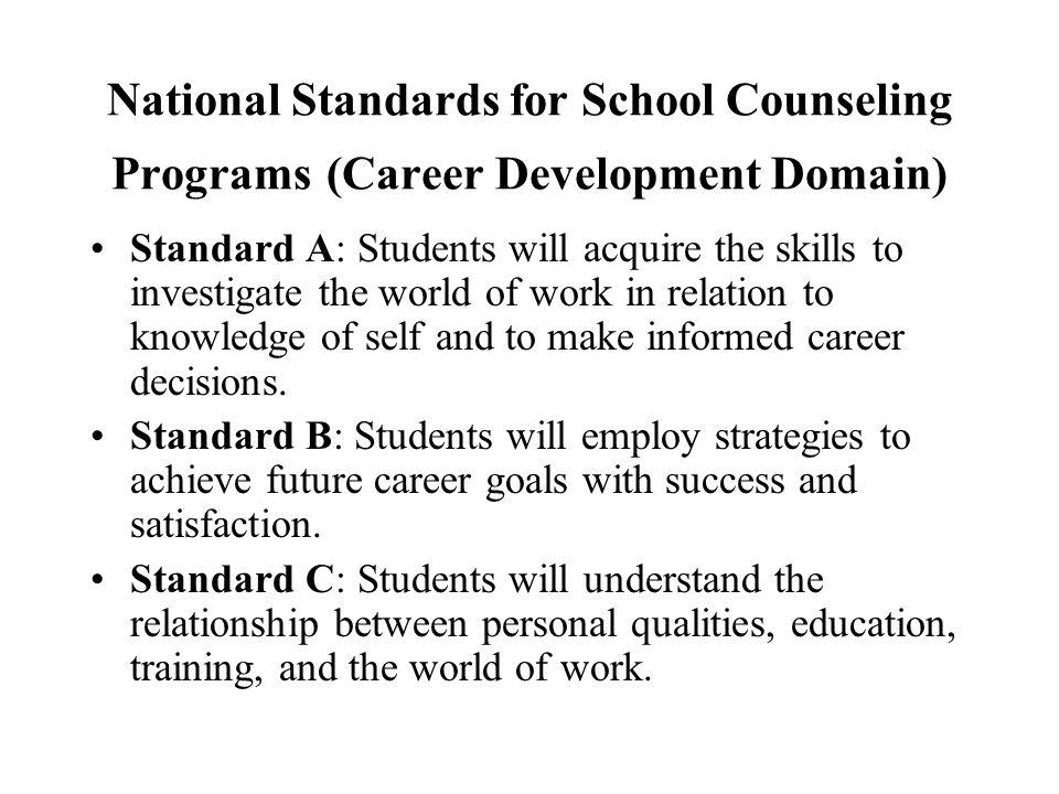 National Standards for School Counseling Programs (Career Development Domain)