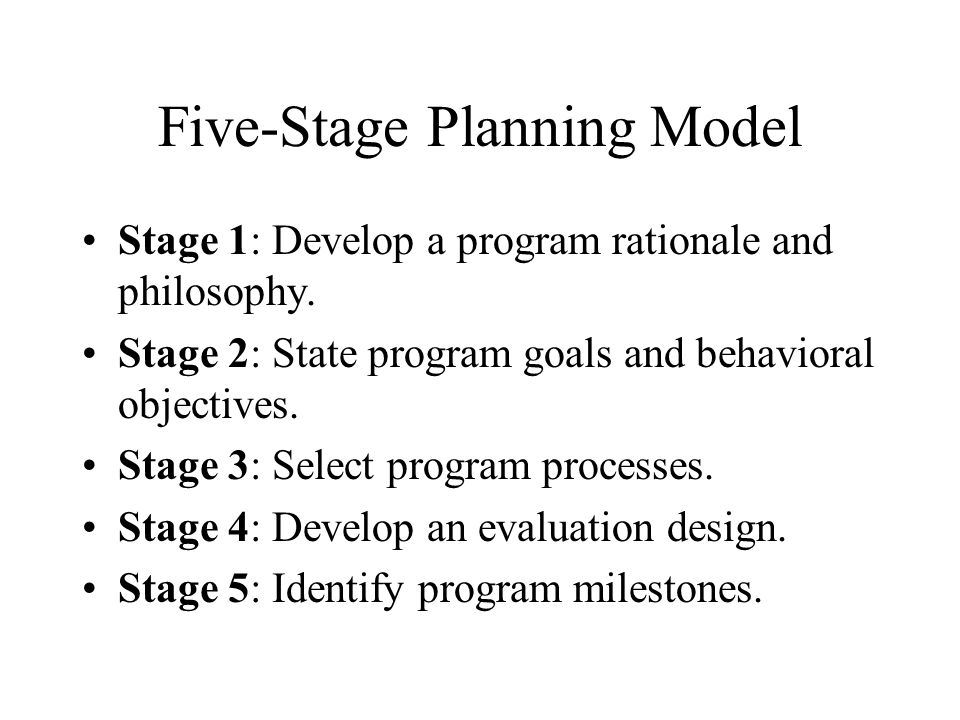 Five-Stage Planning Model
