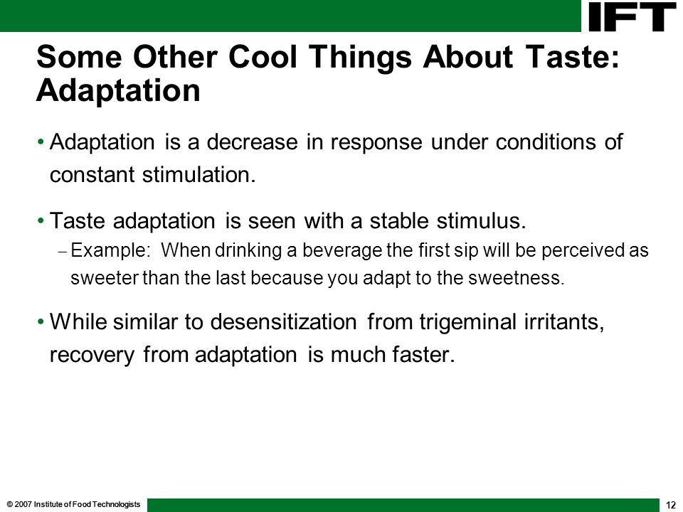 Some Other Cool Things About Taste: Adaptation