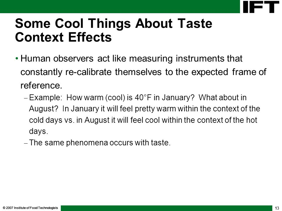 Some Cool Things About Taste Context Effects